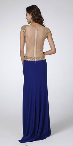 Cinderella Divine 1547 Cut Out Beaded Sleeves See Through Back Royal Blue Sexy Prom Gown