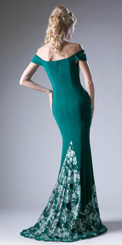 Green Off Shoulder Mermaid Long Formal Dress with Embroidered Hem