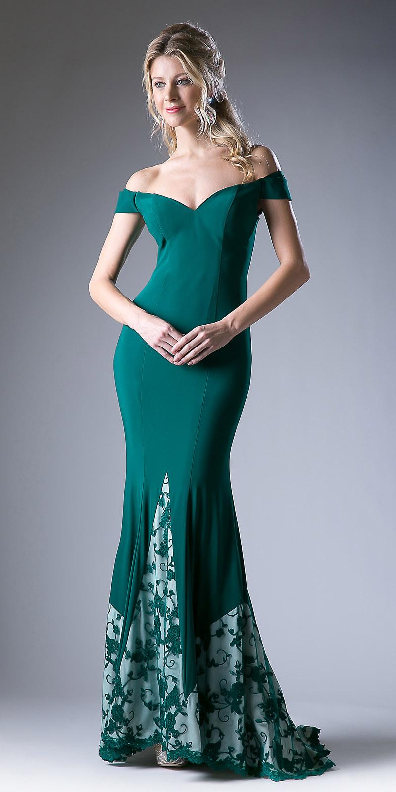 01bffe0e73b8 Green Off Shoulder Mermaid Long Formal Dress with Embroidered Hem ...