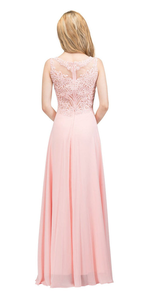 Sleeveless Lace Appliqued Top Long Formal Dress Blush