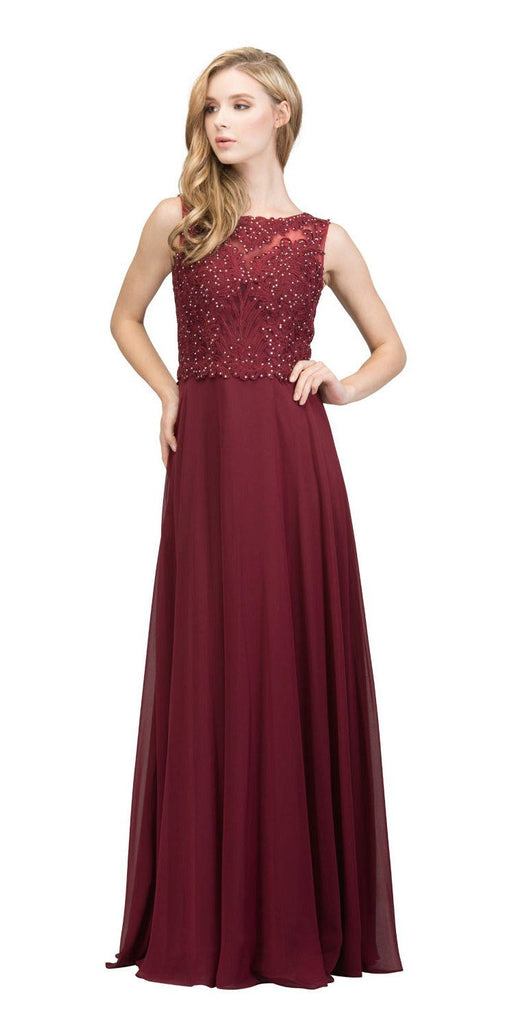 Sleeveless Lace Appliqued Top Long Formal Dress Burgundy