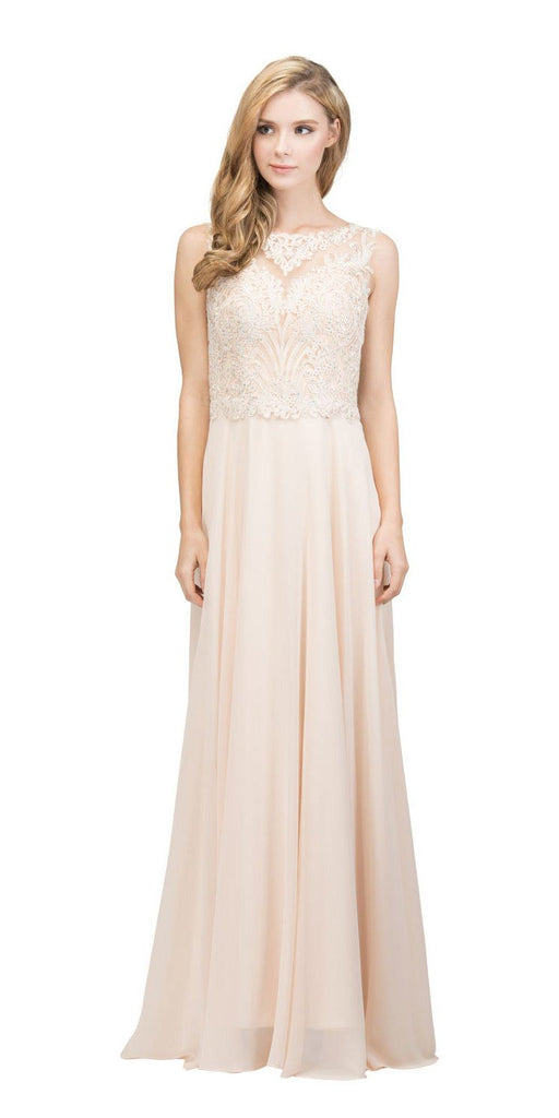 Sleeveless Lace Appliqued Top Long Formal Dress Champagne