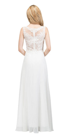 Sleeveless Lace Appliqued Top Long Formal Dress White