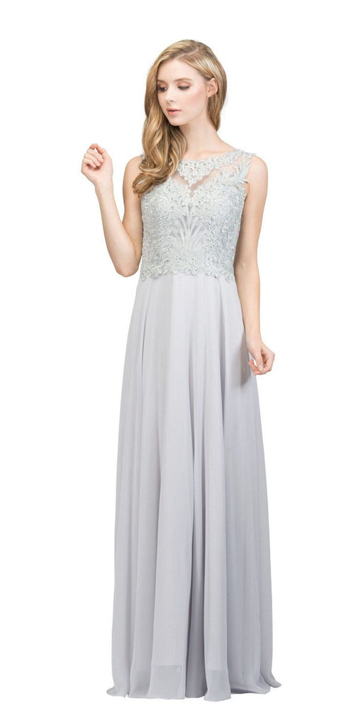 Sleeveless Lace Appliqued Top Long Formal Dress Silver