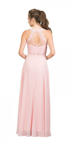Starbox USA 16146 Sheer-Midriff Blush A-line Long Formal Dress with Appliques Back View