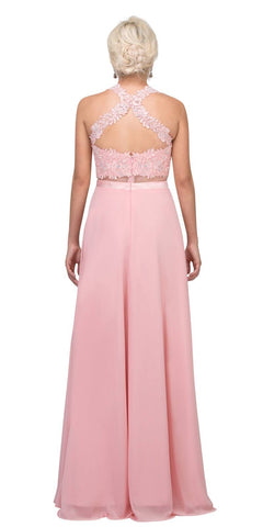 Sheer-Midriff Blush A-line Long Formal Dress with Appliques