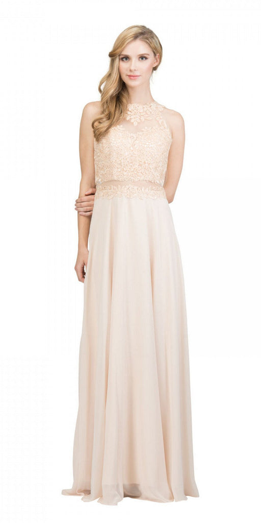 Starbox USA 16146 Sheer-Midriff Champagne A-line Long Formal Dress with Appliques