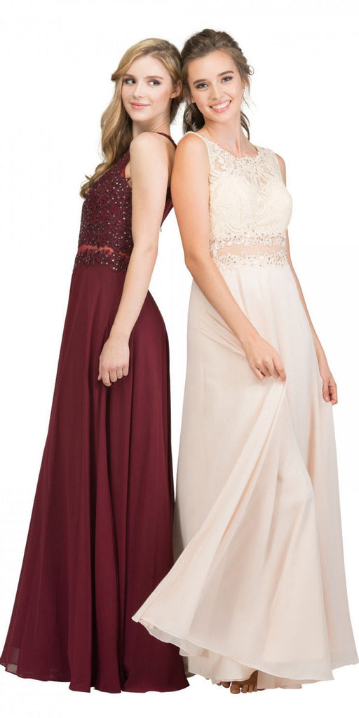Starbox USA 16146 Sheer-Midriff Burgundy A-line Long Formal Dress with Appliques