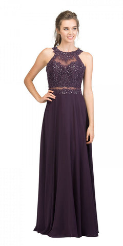 Starbox USA 16146 Sheer-Midriff Eggplant A-line Long Formal Dress with Appliques