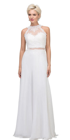 Starbox USA 16146 Sheer-Midriff Off White A-line Long Formal Dress with Appliques