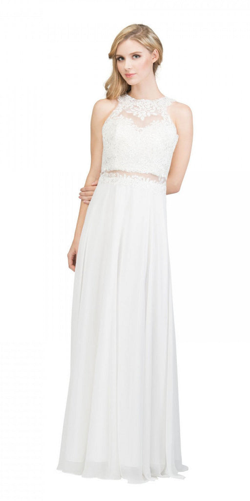 Starbox USA 16146 Sheer-Midriff Blush A-line Long Formal Dress with Appliques