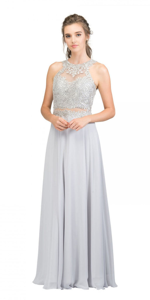 Starbox USA 16146 Sheer-Midriff Silver A-line Long Formal Dress with Appliques