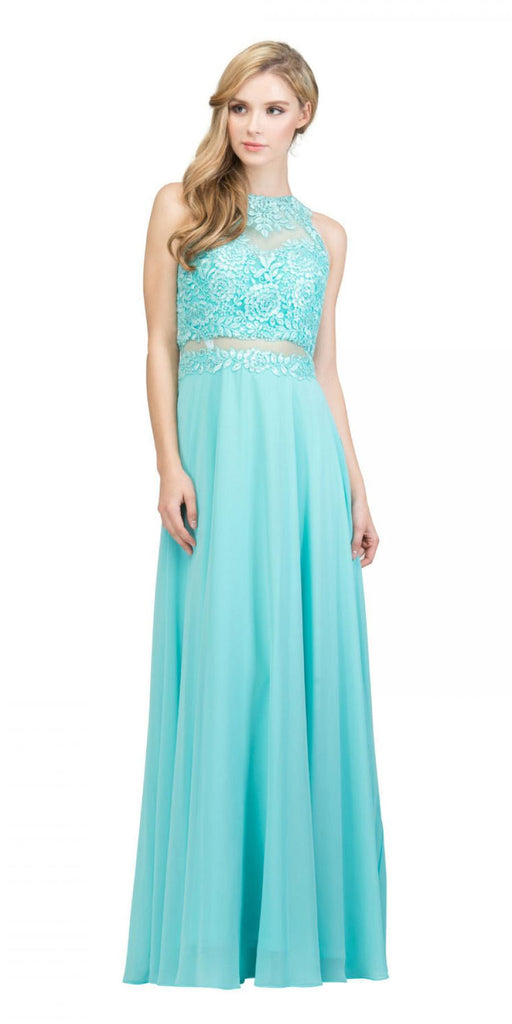 Starbox USA 16146 Sheer-Midriff Tiffany Blue A-line Long Formal Dress with Appliques