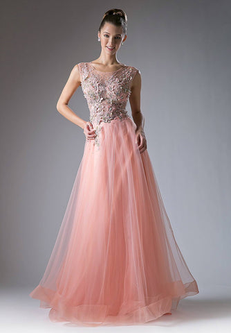Cinderella Divine 1652 A-line Appliqued Bodice Sleeveless Prom Gown Illusion Back Light-Coral