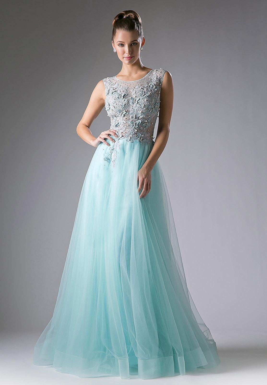 A-line Appliqued Bodice Sleeveless Prom Gown Illusion Back Light ...
