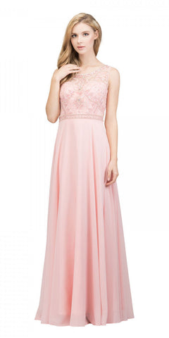 Blush Beaded Bodice V-Neck Long Prom Dress with Pockets