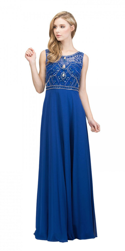 Royal Blue Beaded Long Formal Dress with Scoop Neckline