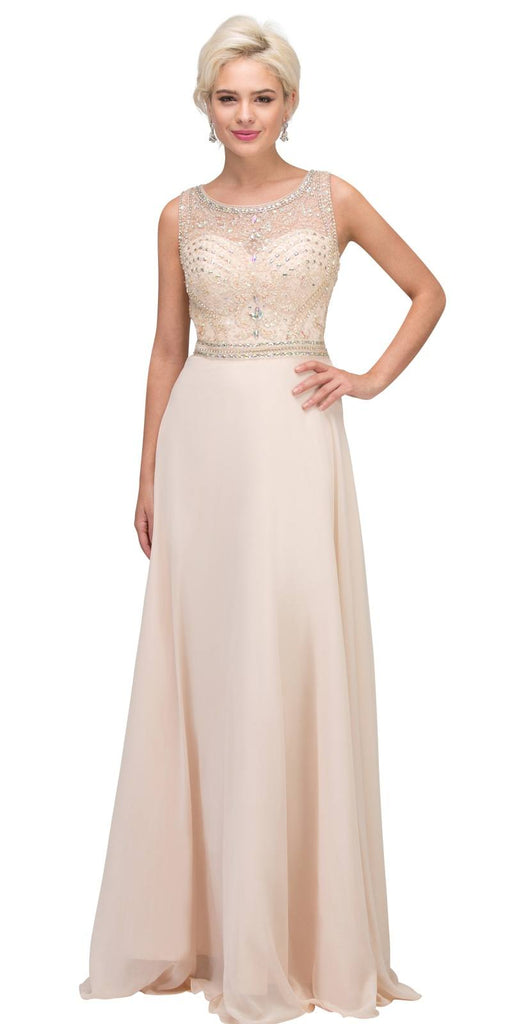 Champagne Beaded Sleeveless Long Formal Dress A-Line