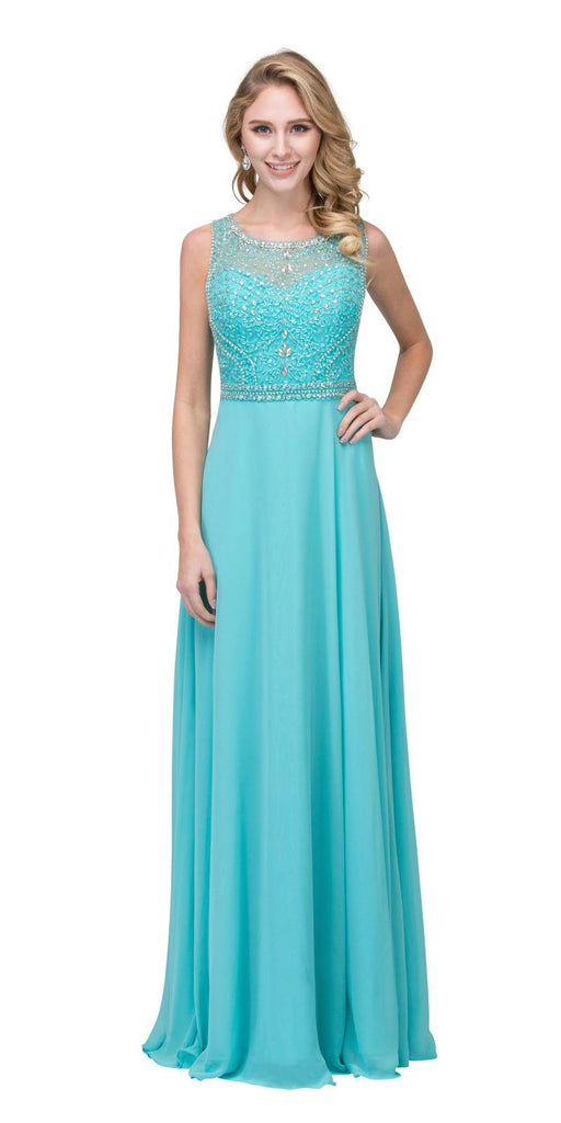 Tiffany Blue Beaded Sleeveless Long Formal Dress A-Line