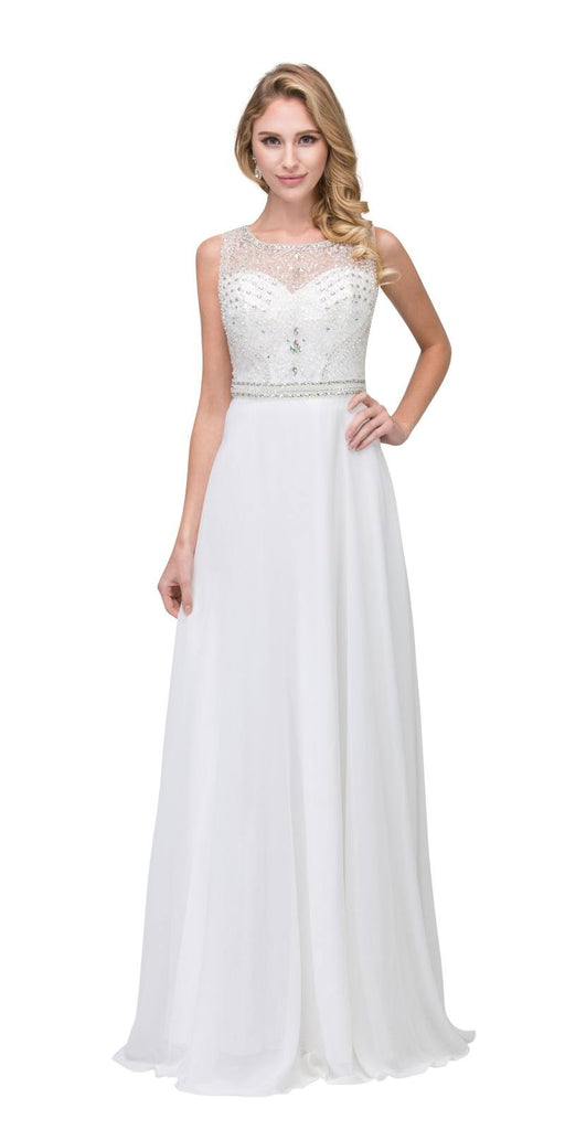 Off White Beaded Sleeveless Long Formal Dress A-Line
