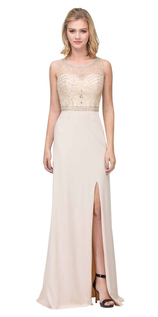 Rhinestone Embellished Evening Gown Sleeveless with Slit Champagne