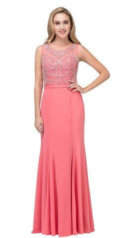 Coral Mermaid Long Formal Dress Beaded Round Neckline
