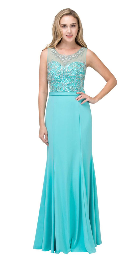 Tiffany Blue Mermaid Long Formal Dress Beaded Round Neckline