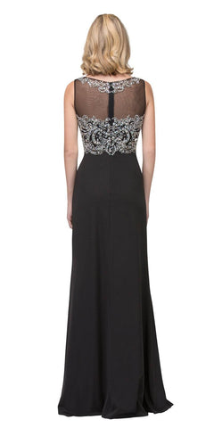 Black Beaded Bodice Sleeveless Long Prom Dress with Slit