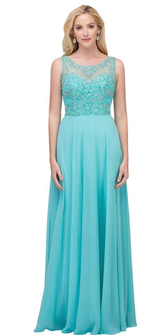 Tiffany Blue Long Formal Dress Sleeveless with Beaded Bodice