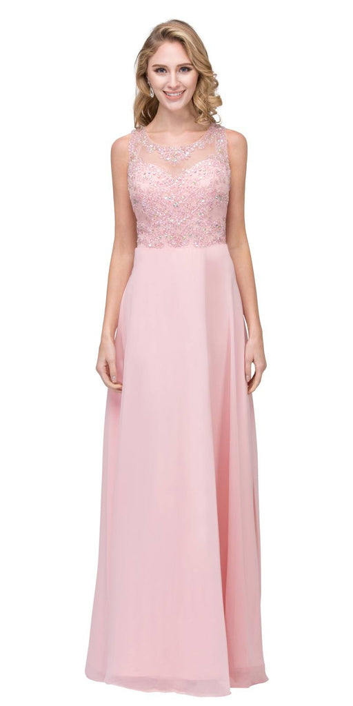 Blush Long Formal Dress Sleeveless with Beaded Bodice