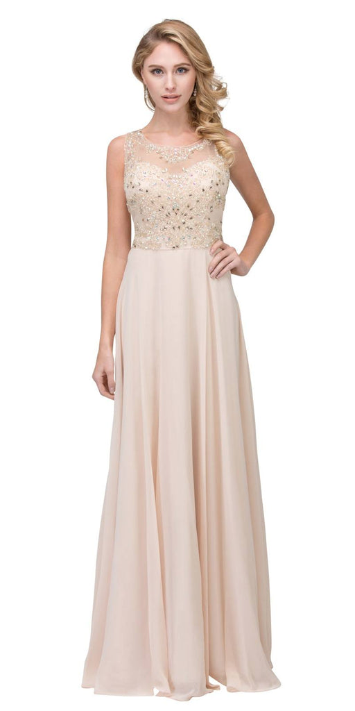 Champagne Long Formal Dress Sleeveless with Beaded Bodice