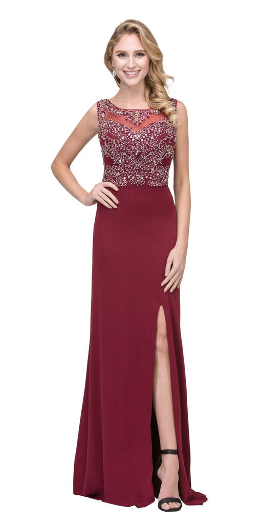 Burgundy ITY Long Prom Dress Embellished Bodice with Slit