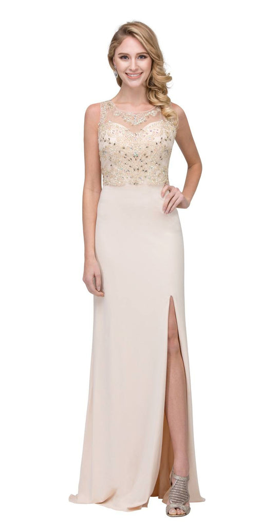 Champagne ITY Long Prom Dress Embellished Bodice with Slit