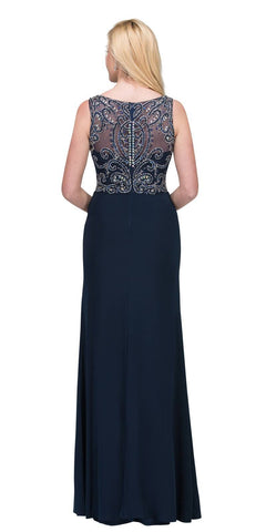 Navy Blue ITY Long Prom Dress Embellished Bodice with Slit