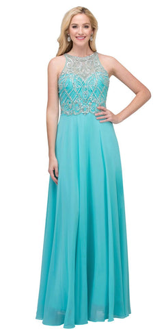 A-line Long Formal Dress with Illusion Beaded Neckline Tiffany Blue