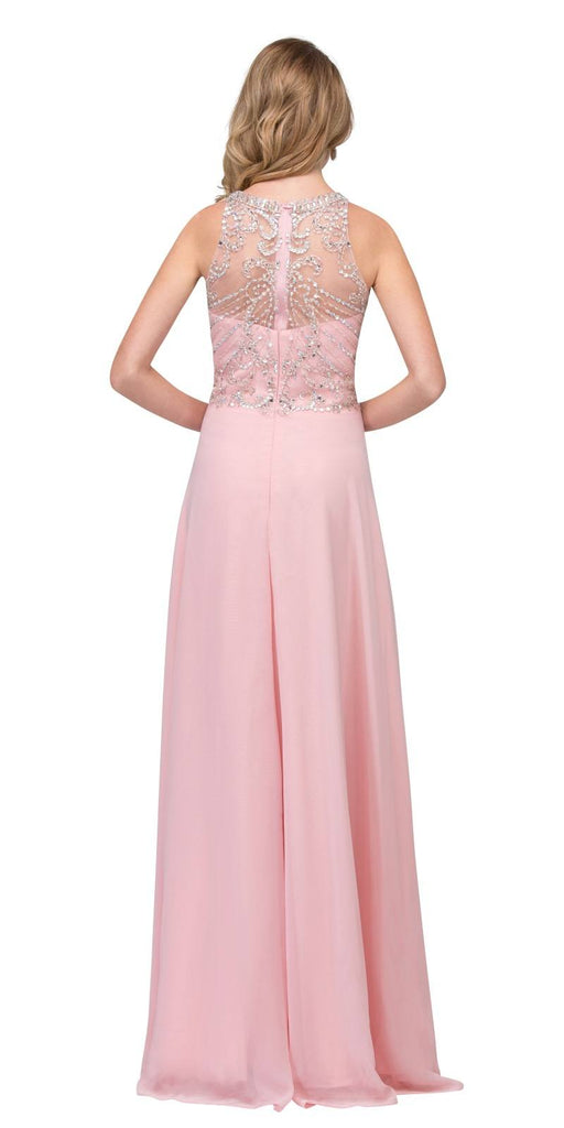 A-line Long Formal Dress with Illusion Beaded Neckline Blush