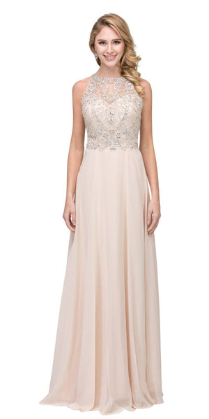 A-line Long Formal Dress with Illusion Beaded Neckline Champagne