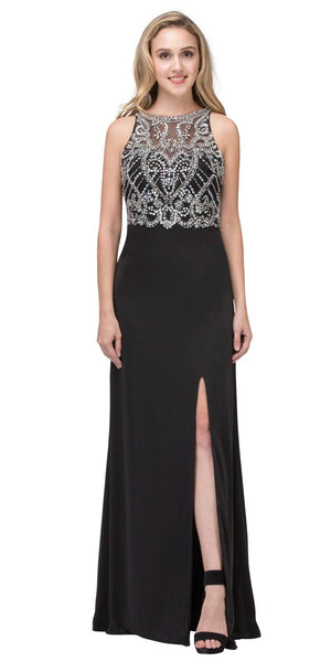 Illusion High Neck Beaded Prom Gown with Slit Black