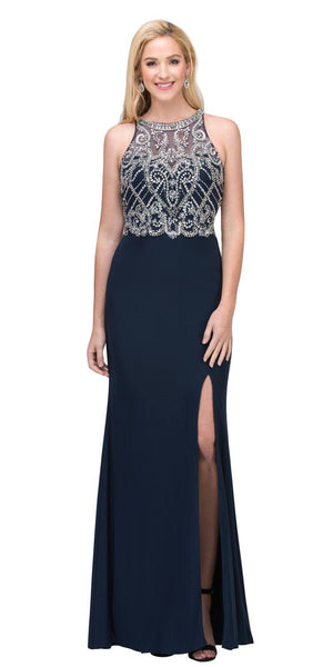 Illusion High Neck Beaded Prom Gown with Slit Navy Blue