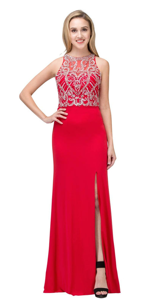 Illusion High Neck Beaded Prom Gown with Slit Red