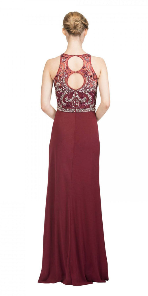 Burgundy Beaded Long Prom Dress Cut Out Back with Slit