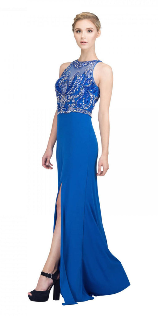 Royal Blue Beaded Long Prom Dress Cut Out Back with Slit