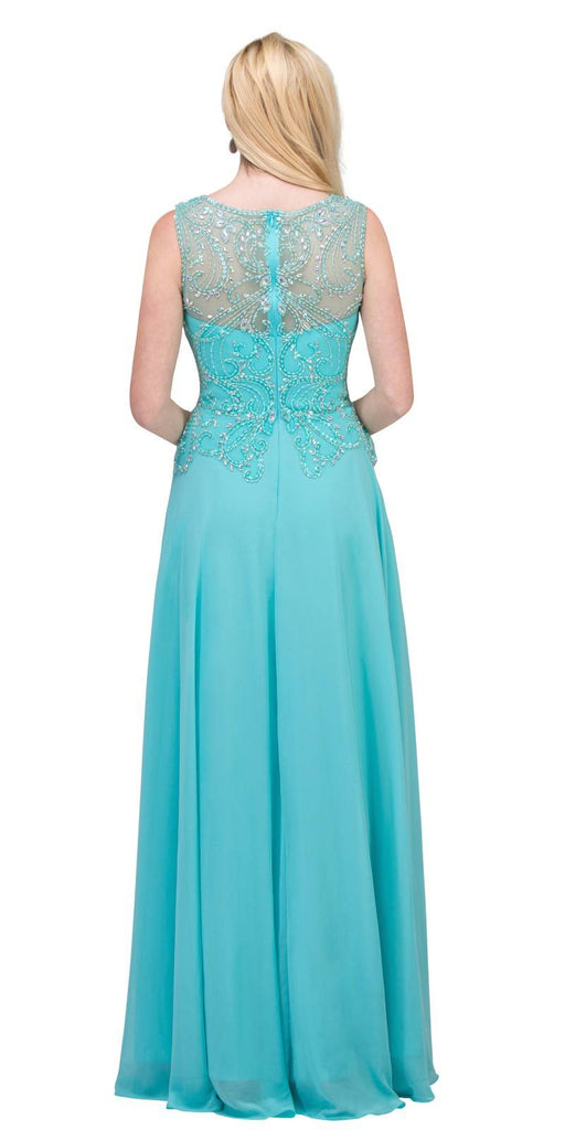 Beaded Long Formal Dress Sleeveless Tiffany Blue