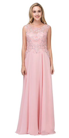 Beaded Long Formal Dress Sleeveless Blush