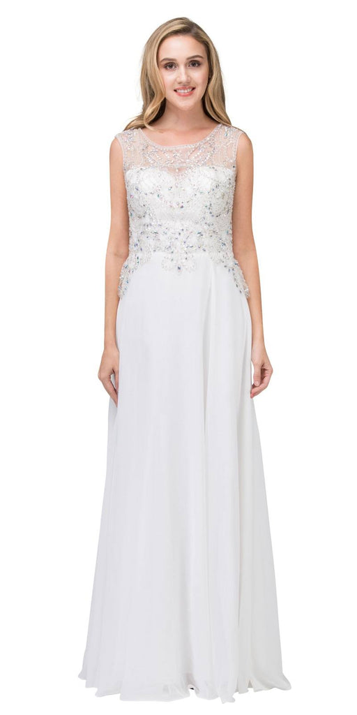 Beaded Long Formal Dress Sleeveless Off White