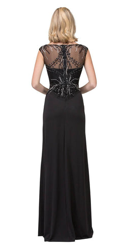 Black Floor Length Illusion Prom Dress Beaded with Slit