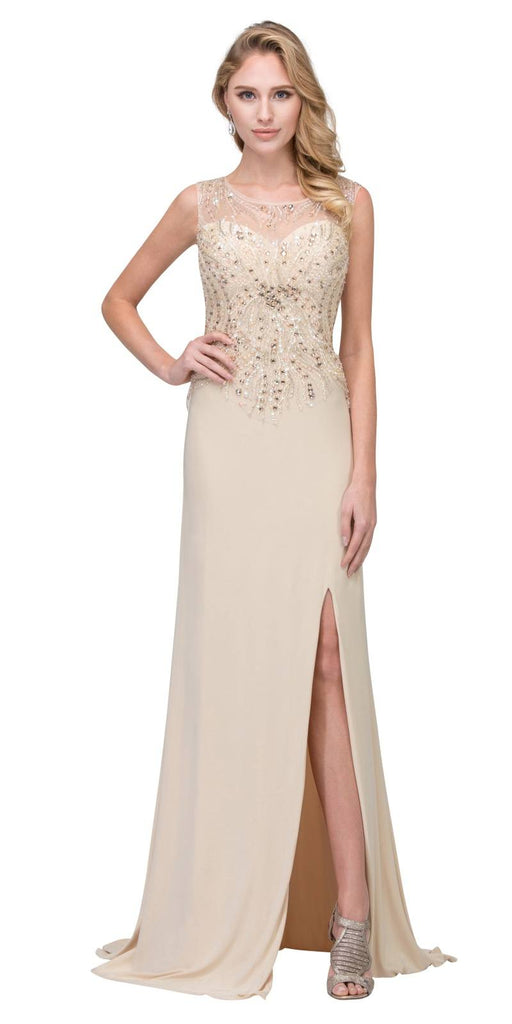 Champagne Floor Length Illusion Prom Dress Beaded with Slit