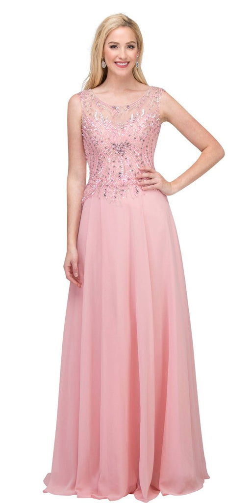 Illusion Scoop Neckline Beaded Long Formal Dress Blush