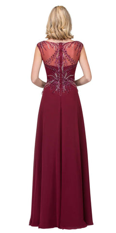 Illusion Scoop Neckline Beaded Long Formal Dress Burgundy
