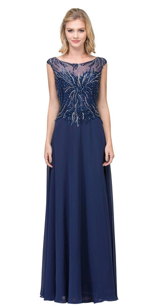 Illusion Scoop Neckline Beaded Long Formal Dress Navy Blue
